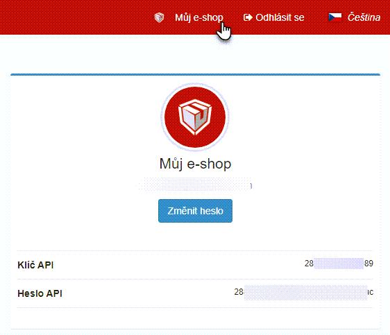 API v sekci Můj e-shop