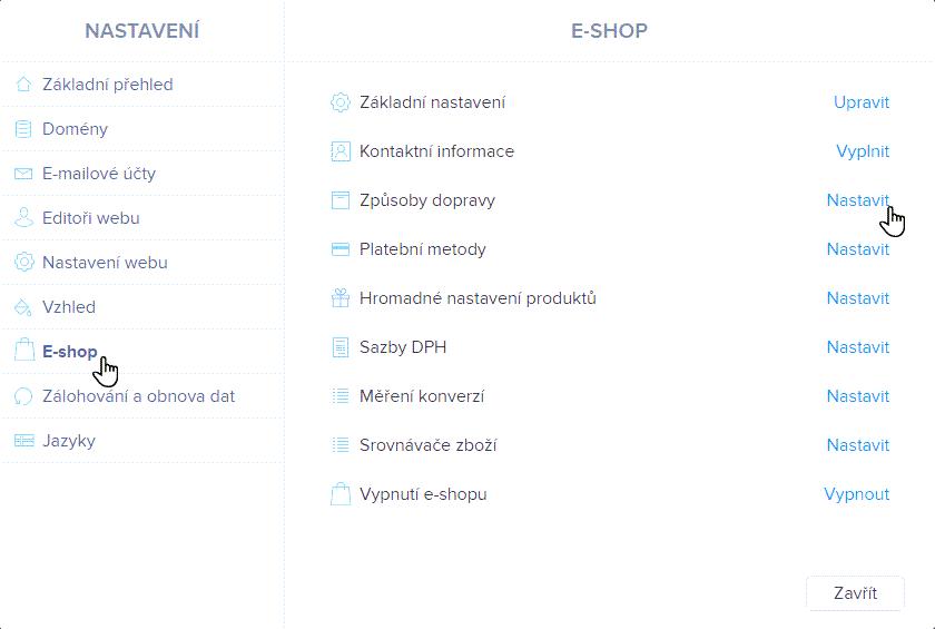 Zvolte E-shop a Způsoby dopravy