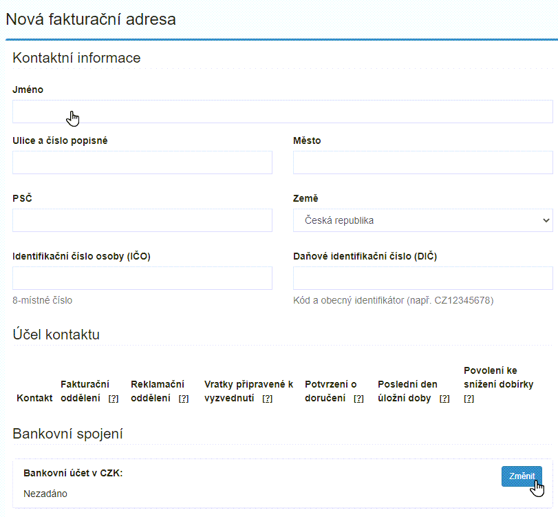 Vyplňte fakturační údaje a čísla účtů