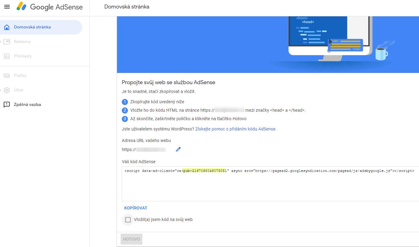 Přidání služby AdSense na stránky