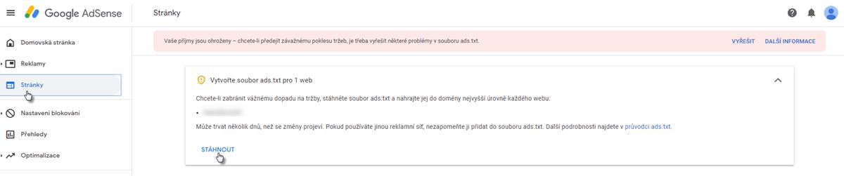 Přidání souboru ads.txt
