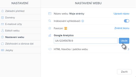 Vložit měřící kód Google Analytics