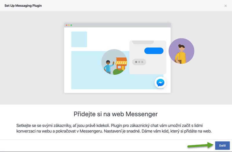 Vygenerování kódu chatu v účtu Facebook