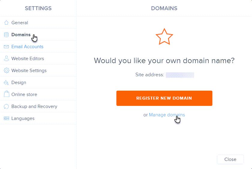 Choose Manage domains