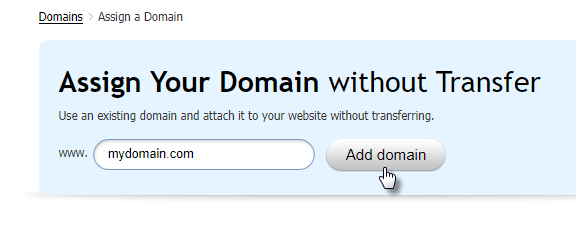Domain assignment without transfer