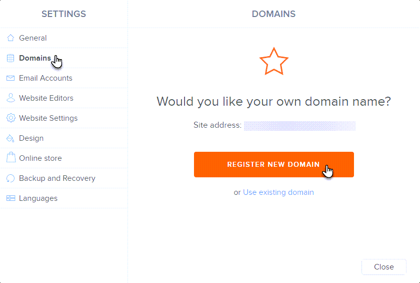Click Register new domain