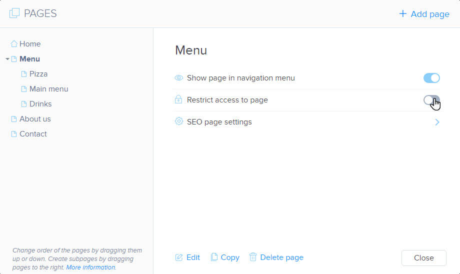 Restrict access to page