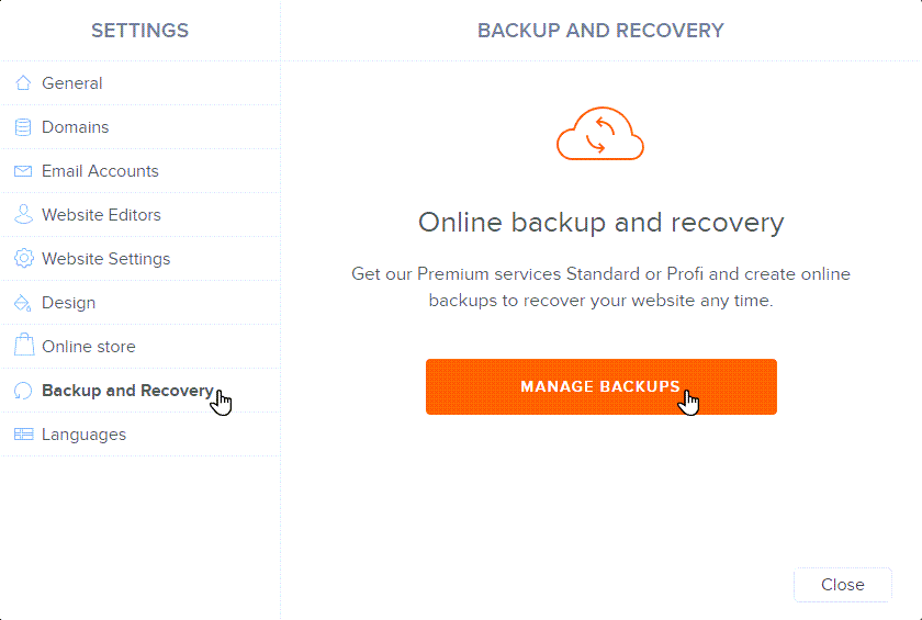Manage backups