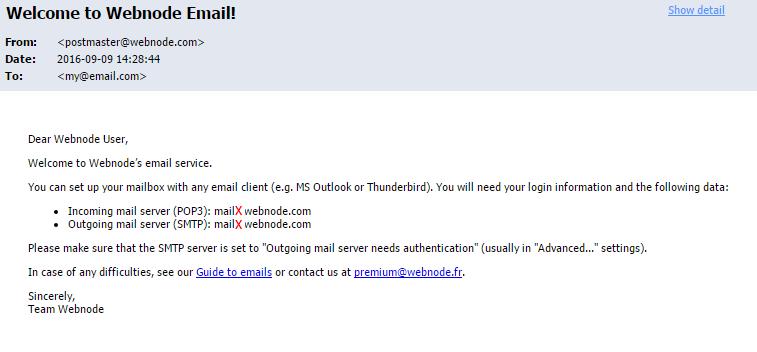 Epostmelding i webmailen