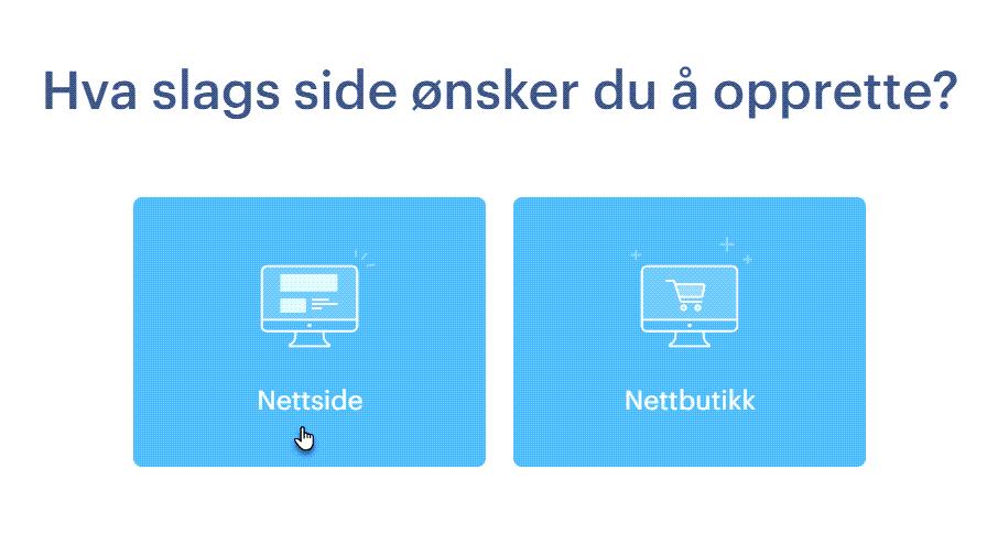 Velg type nettside du vil lage