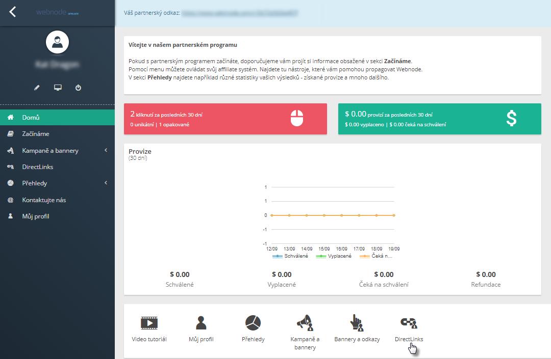 Webnode affiliate program - jak ověřit DirectLinks
