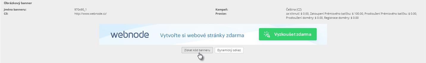 Webnode affiliate program - jak vložit banner