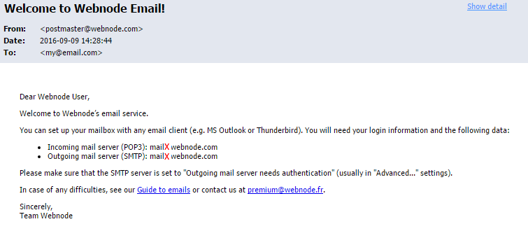 Adding Webnode Webmail to Gmail